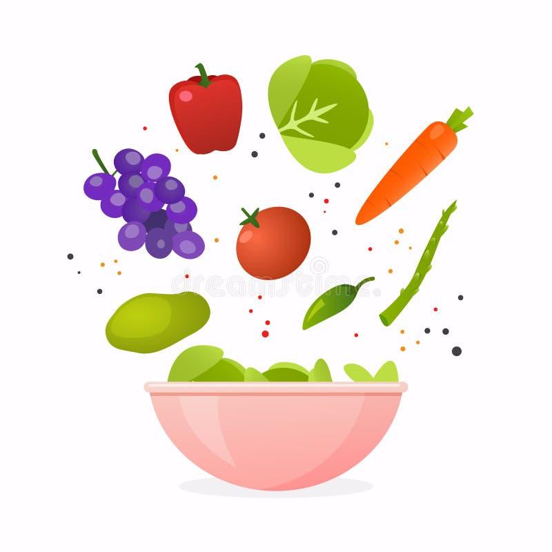 Kom verse groentesalade, gezond voedsel Vlakke ontwerpstijl m vector illustratie