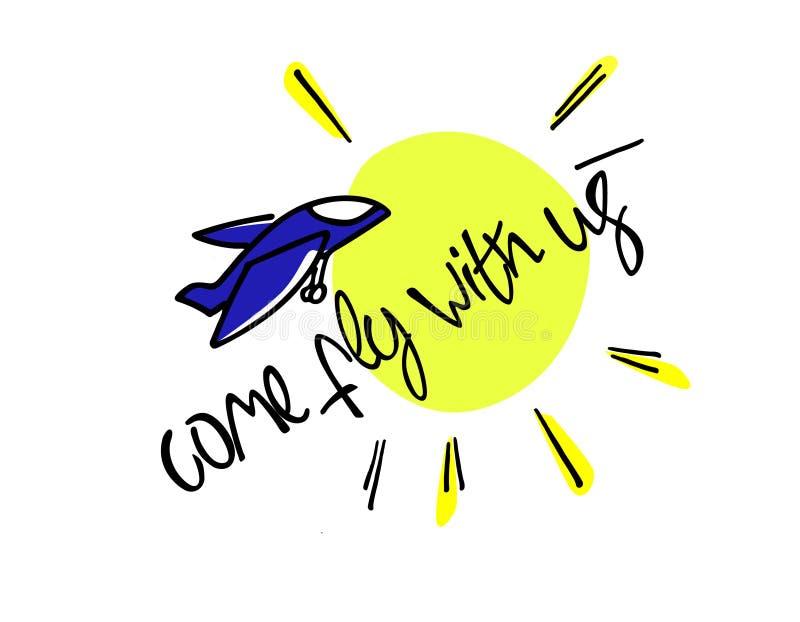 Kom vlieg met ons Illustratie en titel voor een rekruteringsadvertentie Rekrutering, het teambuilding en persoonlijk de groeiconc royalty-vrije illustratie