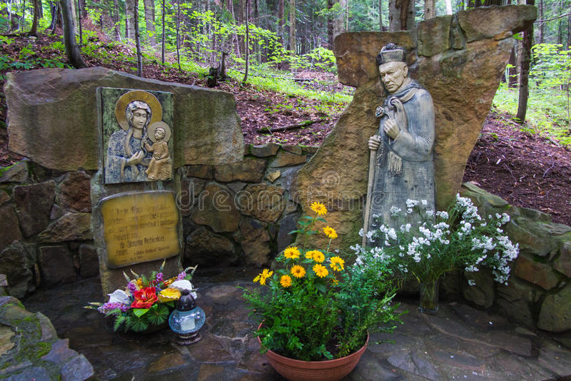 Komancza,波兰- 2016年7月20日:玛丽和图教堂  免版税库存照片