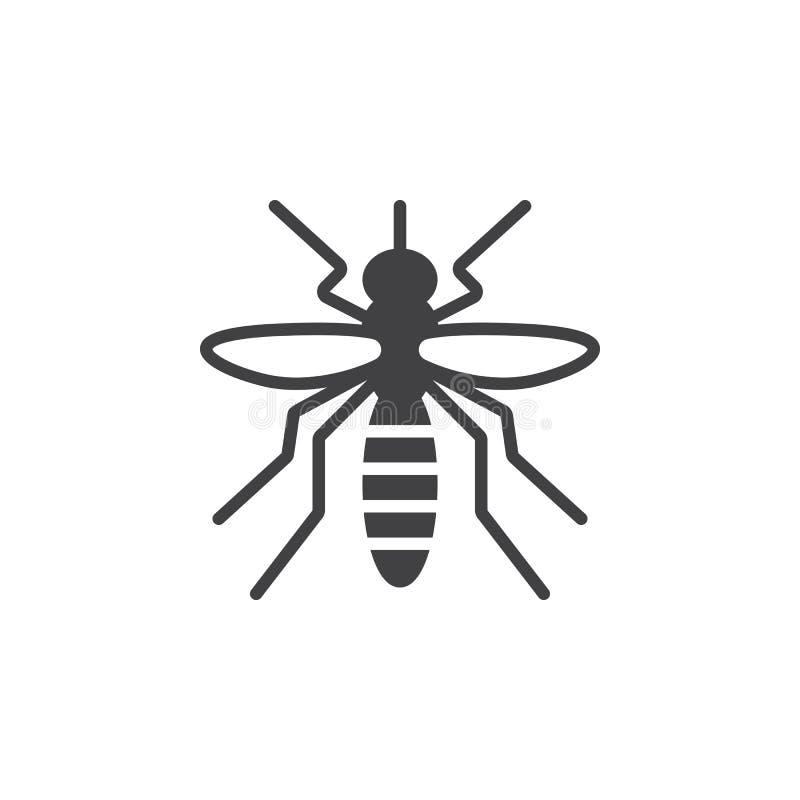 Komar ikony wektor, wypełniający mieszkanie znak ilustracji