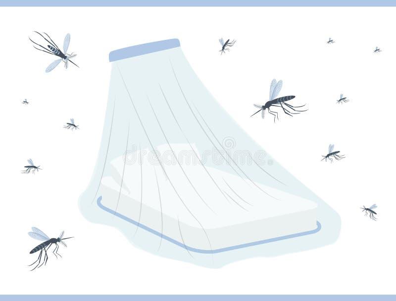 Komar sieć dla łóżka Ð ¡ anopy łóżko ilustracji