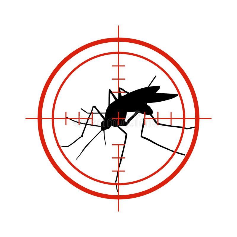 Komar w czerwonym celu Anci komary, denga insekta kontrolnego wektoru epidemiczny symbol odizolowywający royalty ilustracja