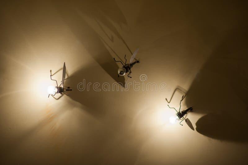 Komarnica na ścianie, żelazna komarnica, kształtująca lampa, świetlik obraz stock