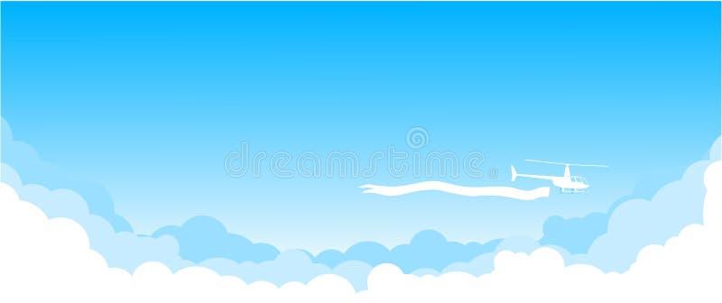 Komarnica przez niebieskie niebo - helikopter ilustracja wektor