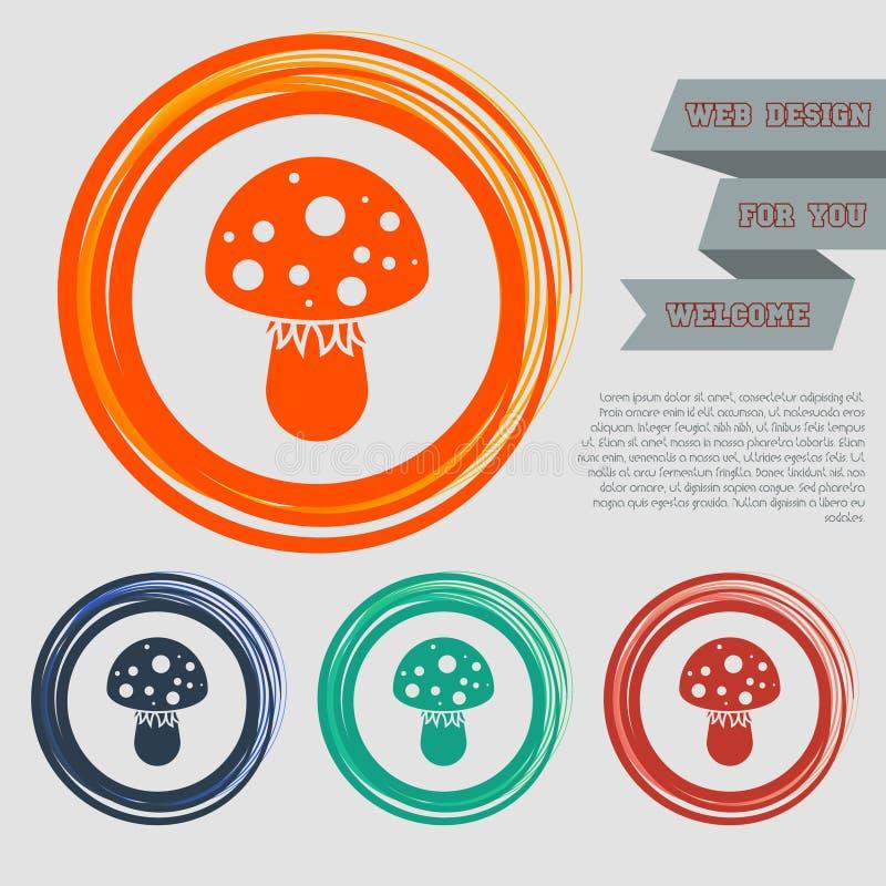 Komarnicy bedłki pieczarki ikona na czerwonym, błękitny, zielony, pomarańcze zapina dla twój projekta z astronautycznym tekstem i royalty ilustracja