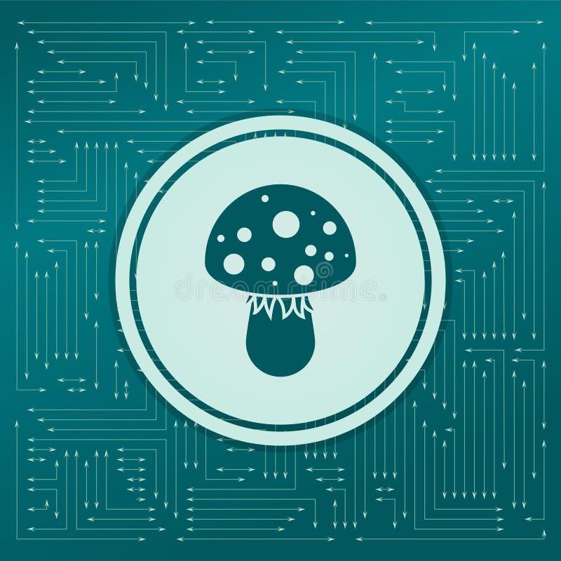 Komarnicy bedłki pieczarki ikona na zielonym tle z strzała w różnych kierunkach, Ja pojawiać się elektroniczna deska royalty ilustracja