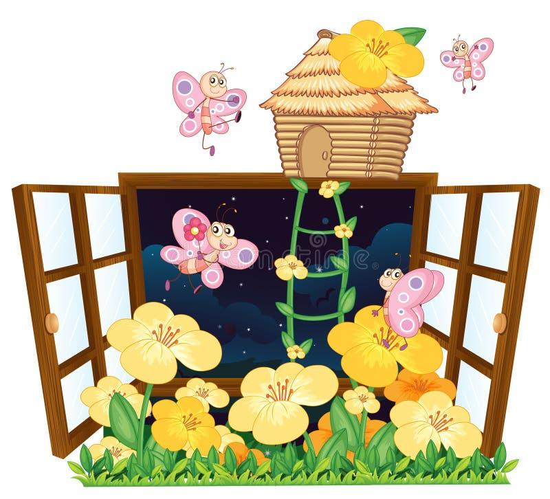 Komarnicy ptaka dom i okno, ilustracja wektor
