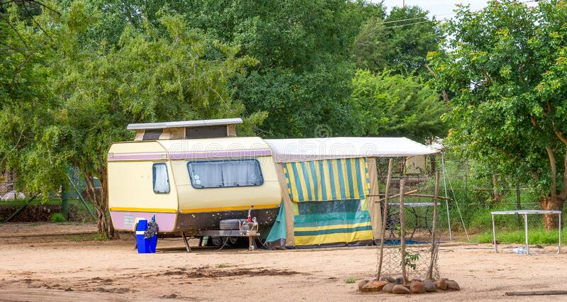 Camping in the Kruger Park in South Africa. Komatipoort, South Africa - January 20, 2020: Caravan camping in the Kruger National Park is a popular South African stock images