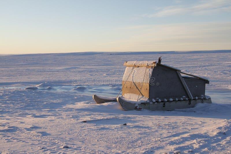 Komatiq or Inuit sled in the community of Cambridge Bay stock photos