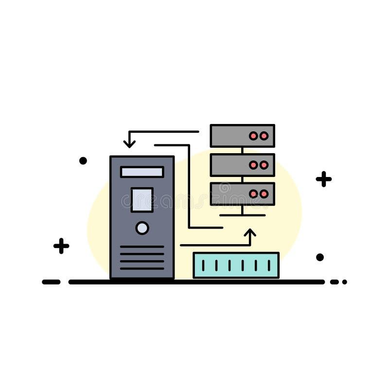 Kombinacja, dane, baza danych, elektroniczny, ewidencyjny Płaski kolor ikony wektor, royalty ilustracja