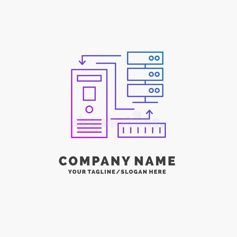 Kombinacja, dane, baza danych, elektroniczny, ewidencyjny Purpurowy Biznesowy logo szablon, Miejsce dla Tagline ilustracja wektor