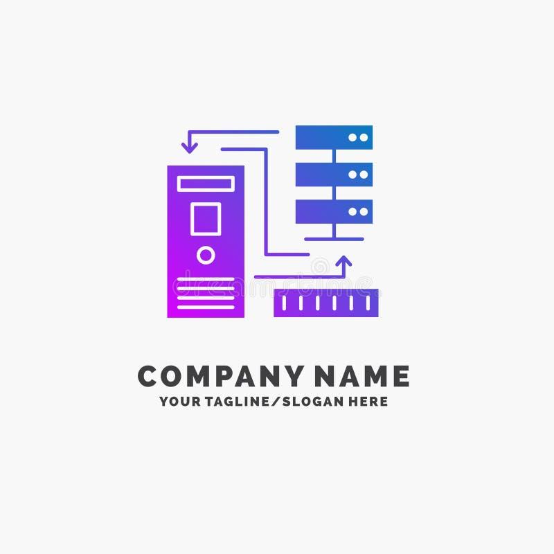 Kombinacja, dane, baza danych, elektroniczny, ewidencyjny Purpurowy Biznesowy logo szablon, Miejsce dla Tagline zdjęcie stock