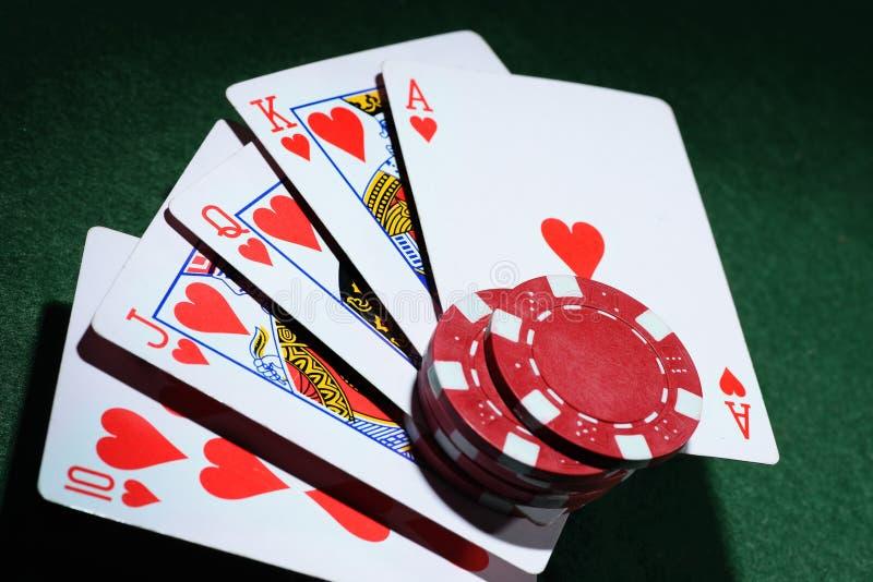 Kombinacja karta do gry grzebaka kasyno zdjęcie royalty free