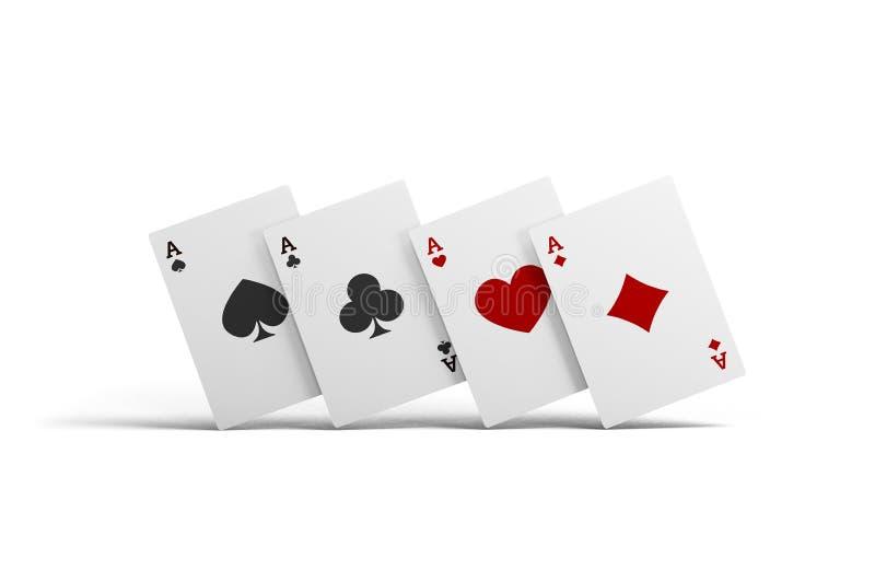 Kombinacja karta do gry grzebaka kasyno Odosobneni karta do gry up na stole na białym tle obrazy stock
