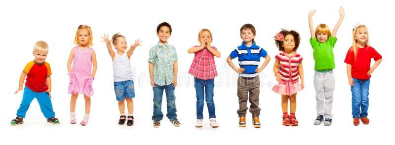 Kombination av små ungar som står isolerade royaltyfria foton