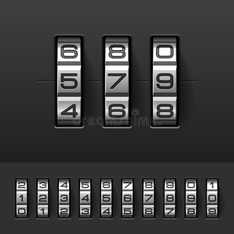Kombination, Codeverschlusszahlen stock abbildung