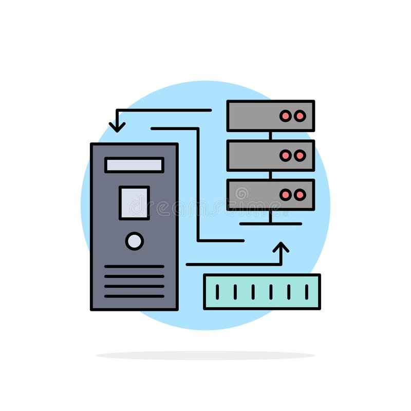 Kombination, Daten, Datenbank, elektronisch, Informationen flacher Farbikonen-Vektor lizenzfreie abbildung