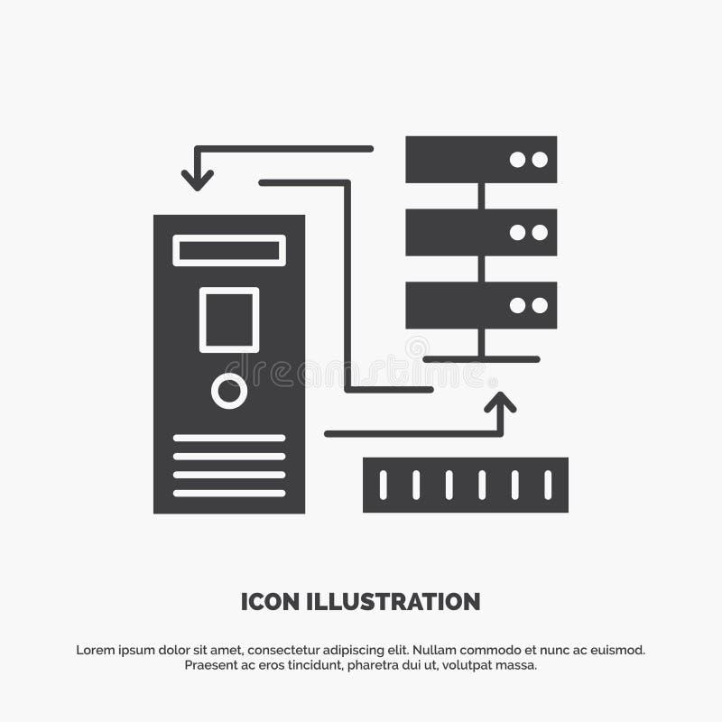 Kombination, Daten, Datenbank, elektronisch, Informationen Ikone graues Symbol des Glyphvektors f?r UI und UX, Website oder beweg lizenzfreie abbildung