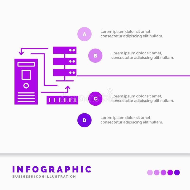 Kombination, Daten, Datenbank, elektronische, Informationen Infographics-Schablone f?r Website und Darstellung Purpurrote Ikone d vektor abbildung