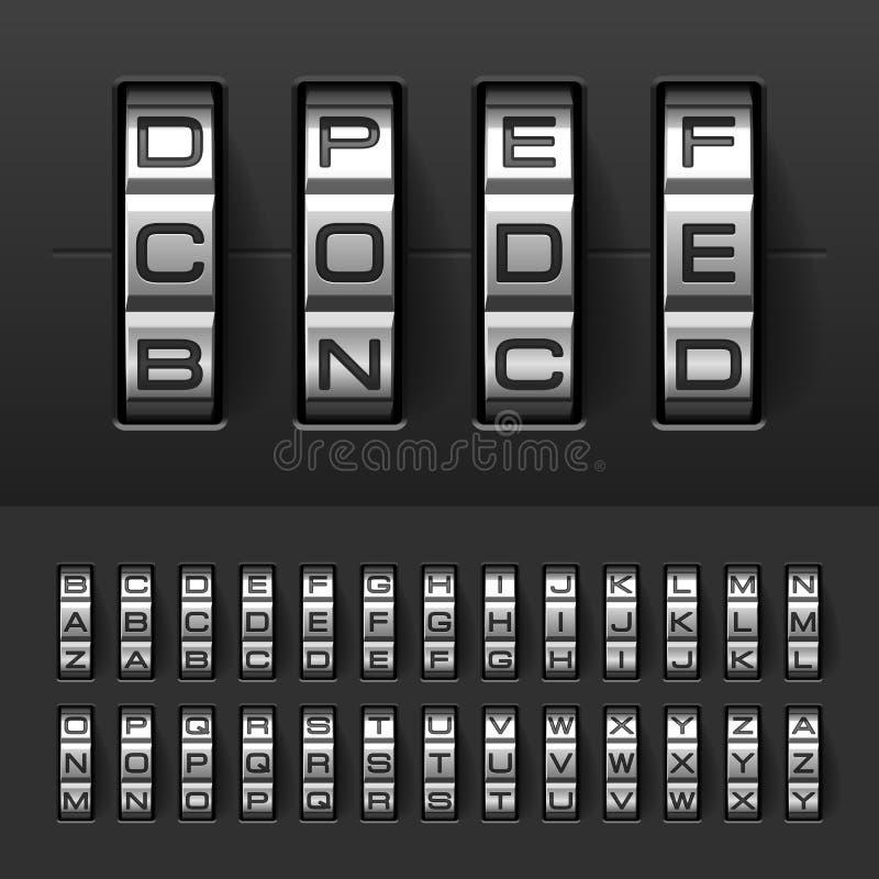 Kombination kodlåsalfabet royaltyfri illustrationer