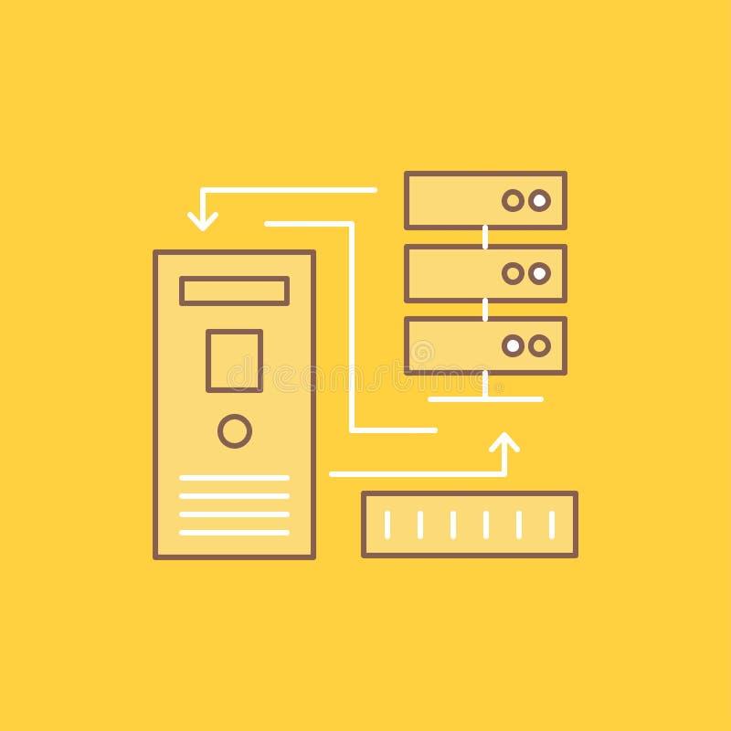 Kombinationen data, databas som var elektronisk, plan linje för information, fyllde symbolen H?rlig logoknapp ?ver gul bakgrund f vektor illustrationer