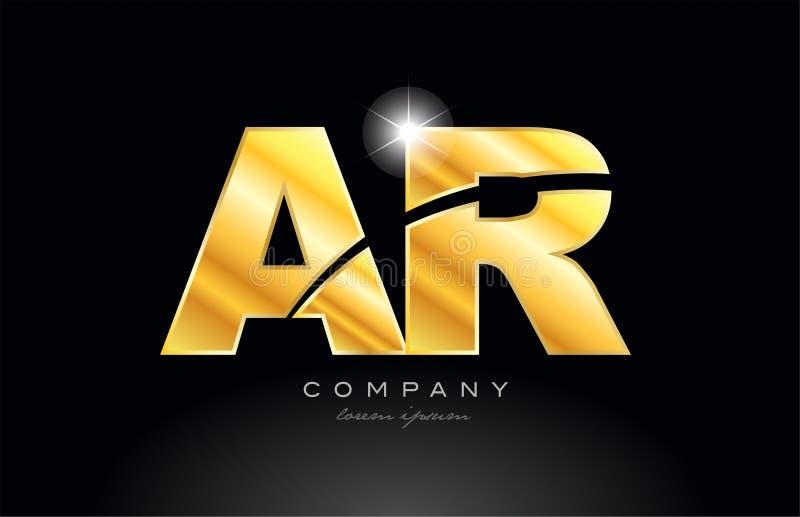 Kombinationsbuchstabe AR ein r-Goldgoldener Alphabetmetalllogo-Ikonenentwurf lizenzfreie abbildung