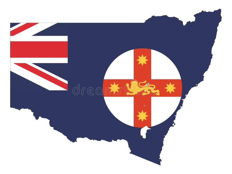 Kombinerad översikt och flagga av australiska staten av New South Wales royaltyfri illustrationer