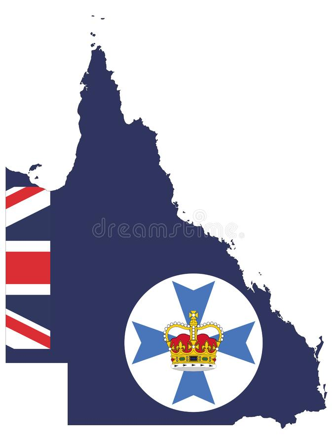 Kombinerad översikt och flagga av australiska staten av Queensland royaltyfri illustrationer