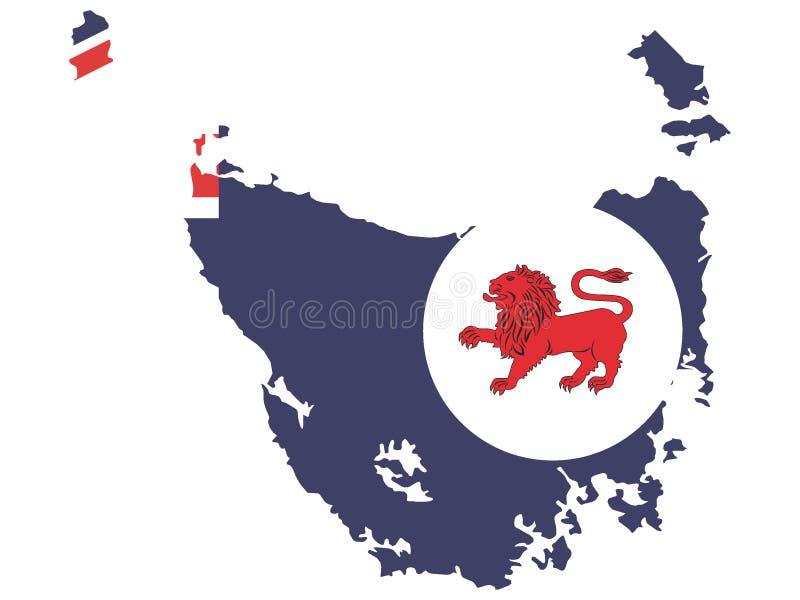 Kombinerad översikt och flagga av australiska staten av Tasmanien stock illustrationer