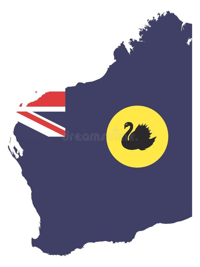 Kombinerad översikt och flagga av australiska staten av västra Australien vektor illustrationer