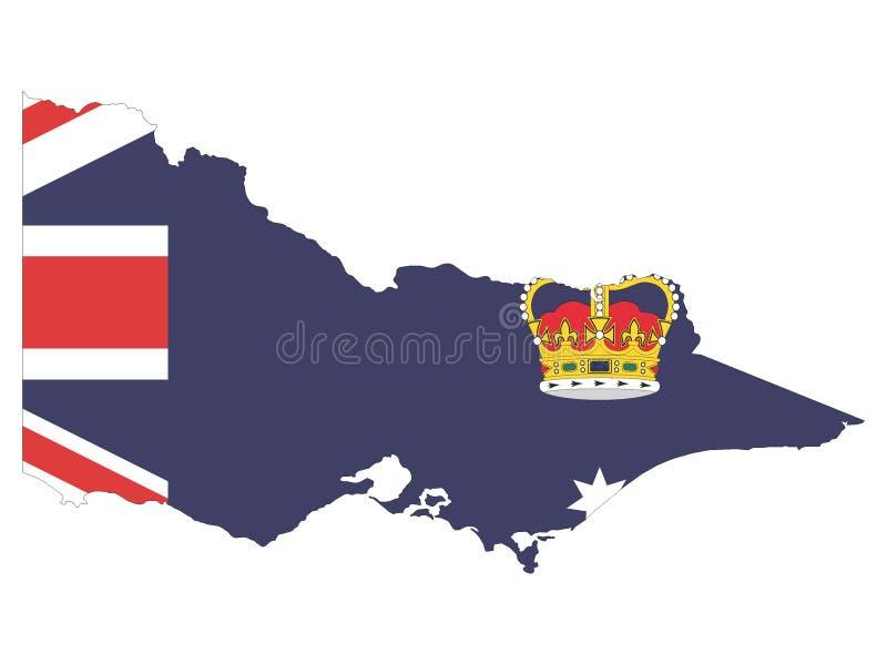 Kombinerad översikt och flagga av australiska staten av Victoria stock illustrationer