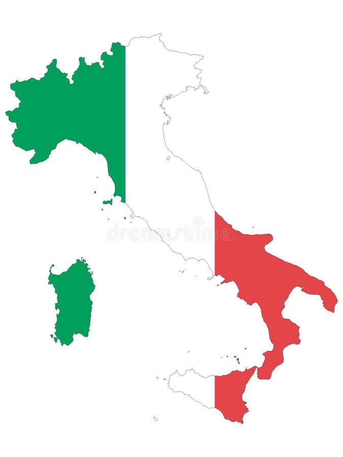 Kombinerad översikt och flagga av Italien royaltyfri illustrationer