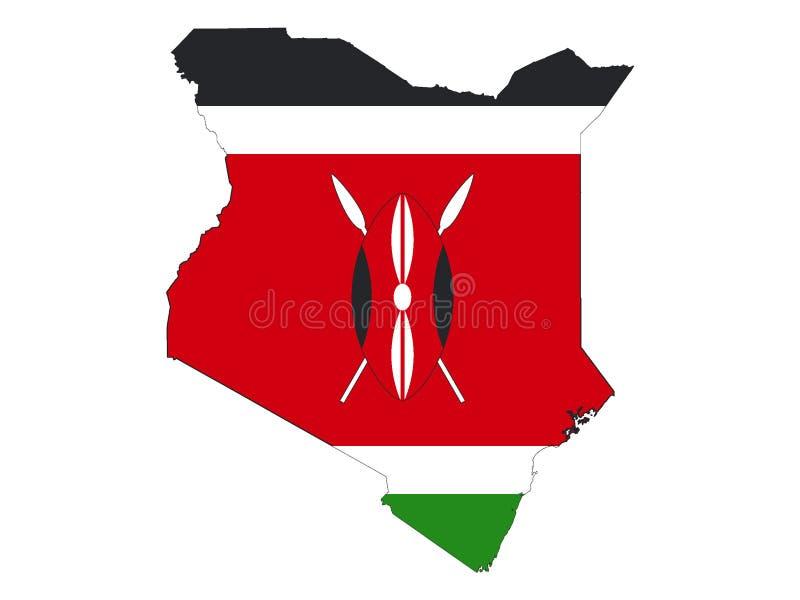 Kombinerad översikt och flagga av Kenya vektor illustrationer