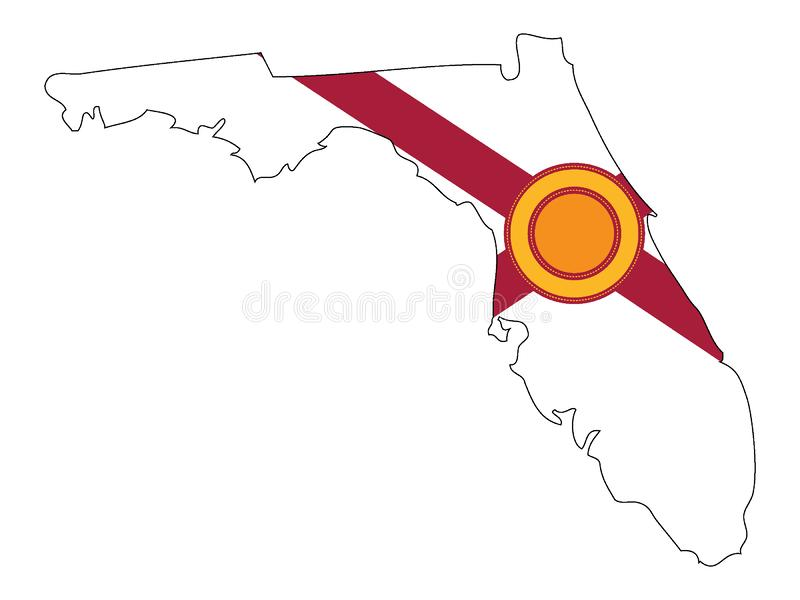 Kombinerad översikt och flagga av USA tillståndet av Florida stock illustrationer