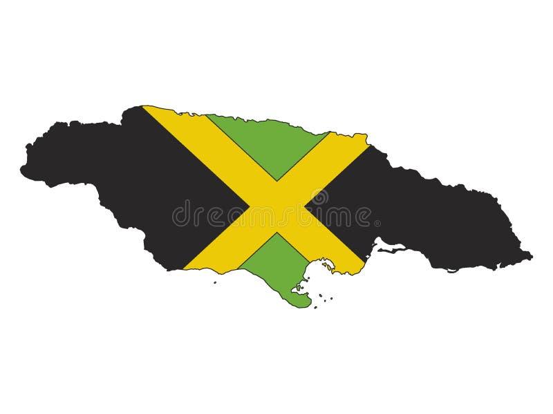 Kombinerade Jamaica översikt och flagga vektor illustrationer