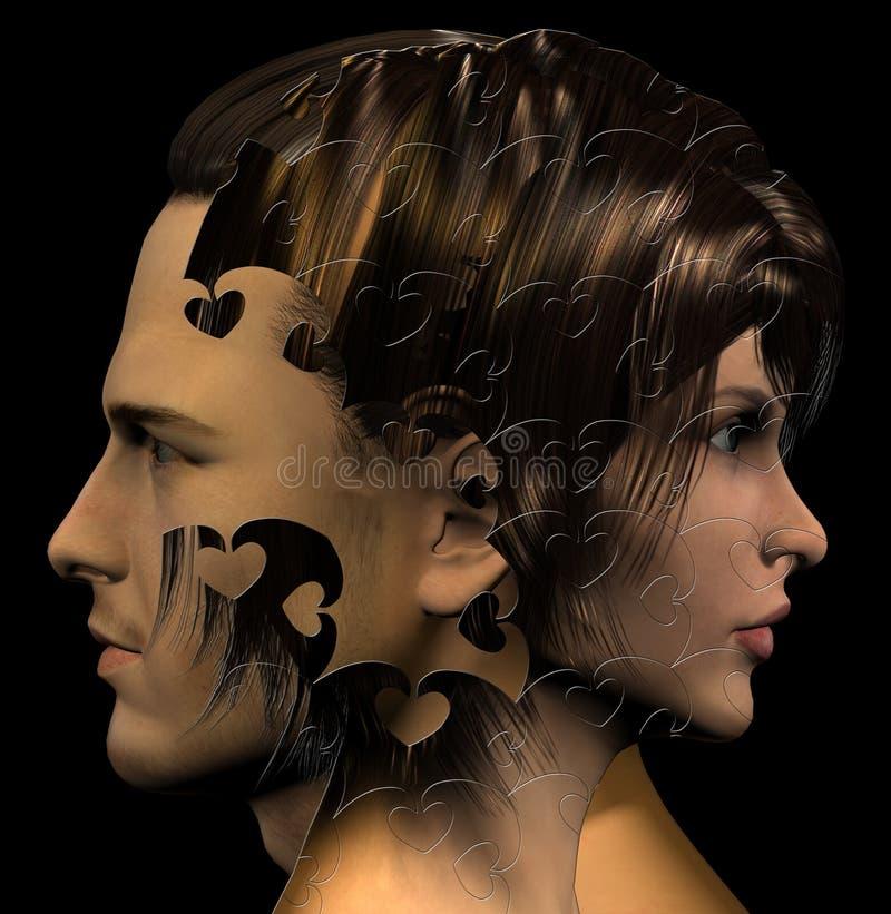 Kombinerade man- och kvinnas huvud royaltyfri illustrationer
