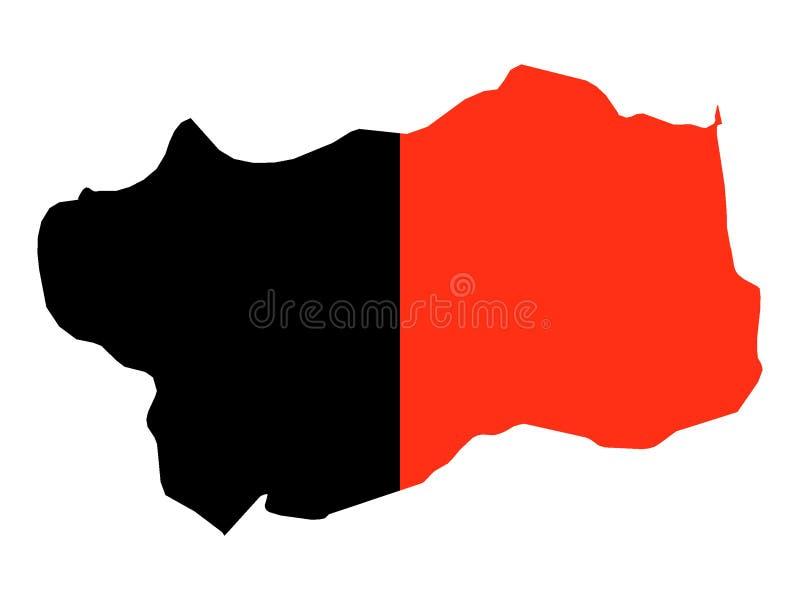 Kombinierte Karte und Flagge der italienischen Region vom Aostatal stock abbildung
