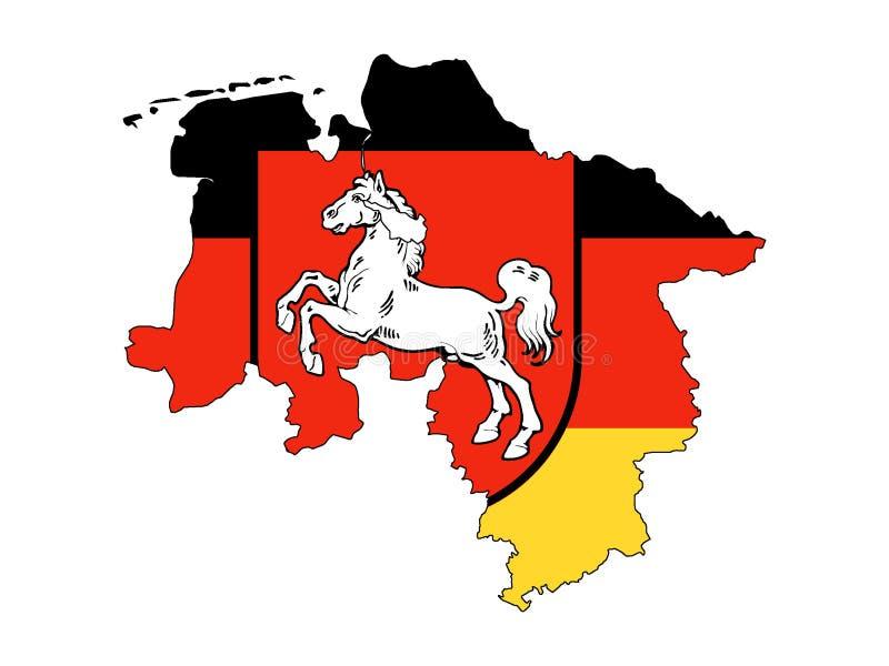 Kombinierte Karte und Flagge des deutschen Staats von Niedersachsen lizenzfreie abbildung