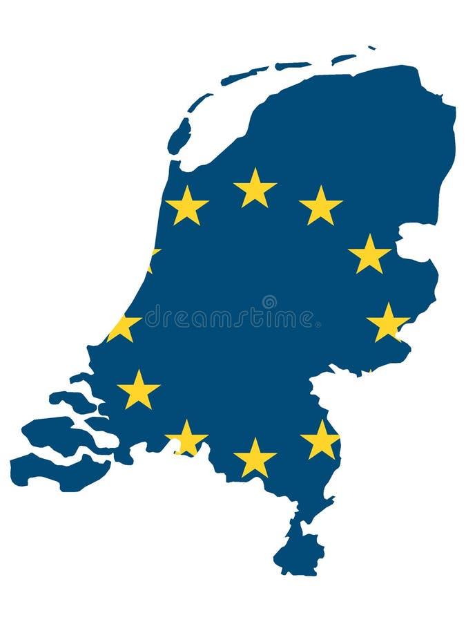 Kombinierte Karte und Flagge des EU-Landes der Niederlande vektor abbildung