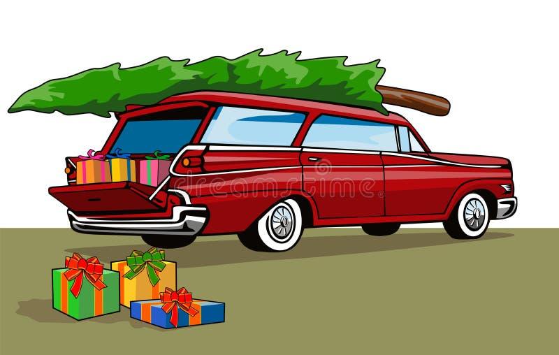 Kombiwagen mit Baum lizenzfreie abbildung