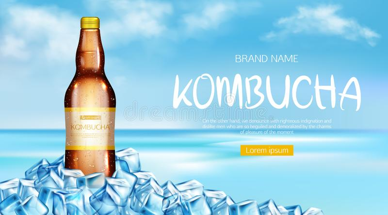 Kombucha bottle mockup ad banner, fresh tea drink royalty free illustration