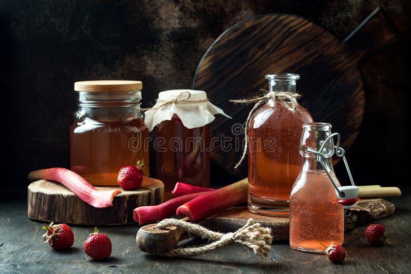 Kombucha fermentado caseiro da morango e do ruibarbo Bebida flavored probiótico natural saudável imagem de stock royalty free