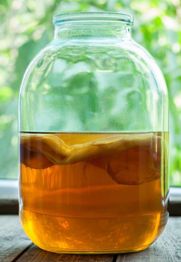 Kombucha natural bebida fermentada do chá saudável imagens de stock royalty free