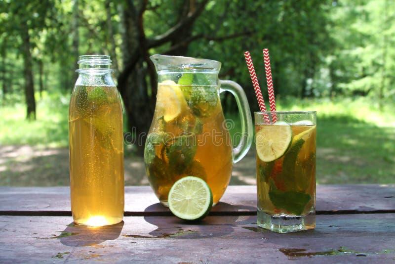 Kombucha-Tee gor Supernahrung im Glas, Krug und Flasche mit Minze und Zitrone, kalken auf dem Holztisch, im Freien lizenzfreie stockfotos