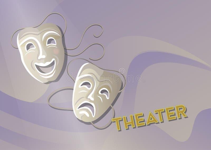 Komedi och tragedi, scenisk bakgrund för illustration för maskeringsaffischvektor vektor illustrationer