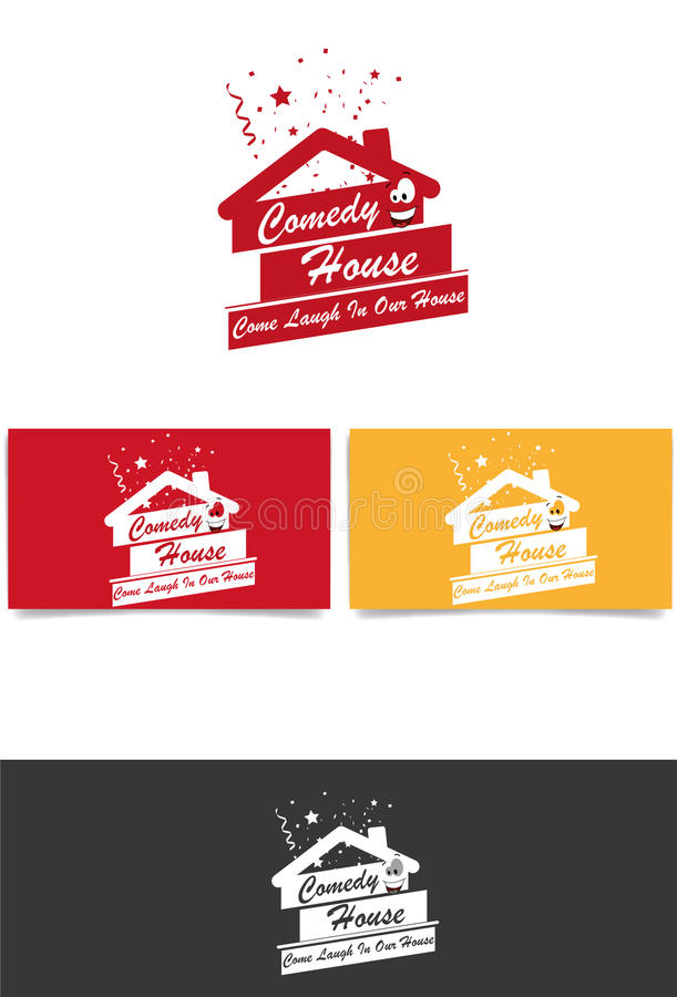 Komedia domowy logo obrazy royalty free