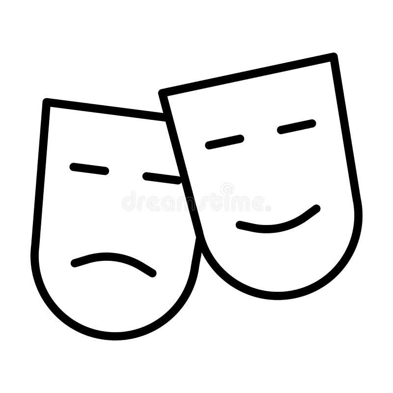 Komedie en tragedie de lijnpictogram van theatermaskers Vector illustratie stock illustratie