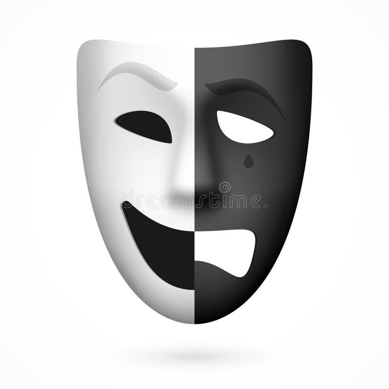 Komedie en tragedie theatraal masker royalty-vrije illustratie