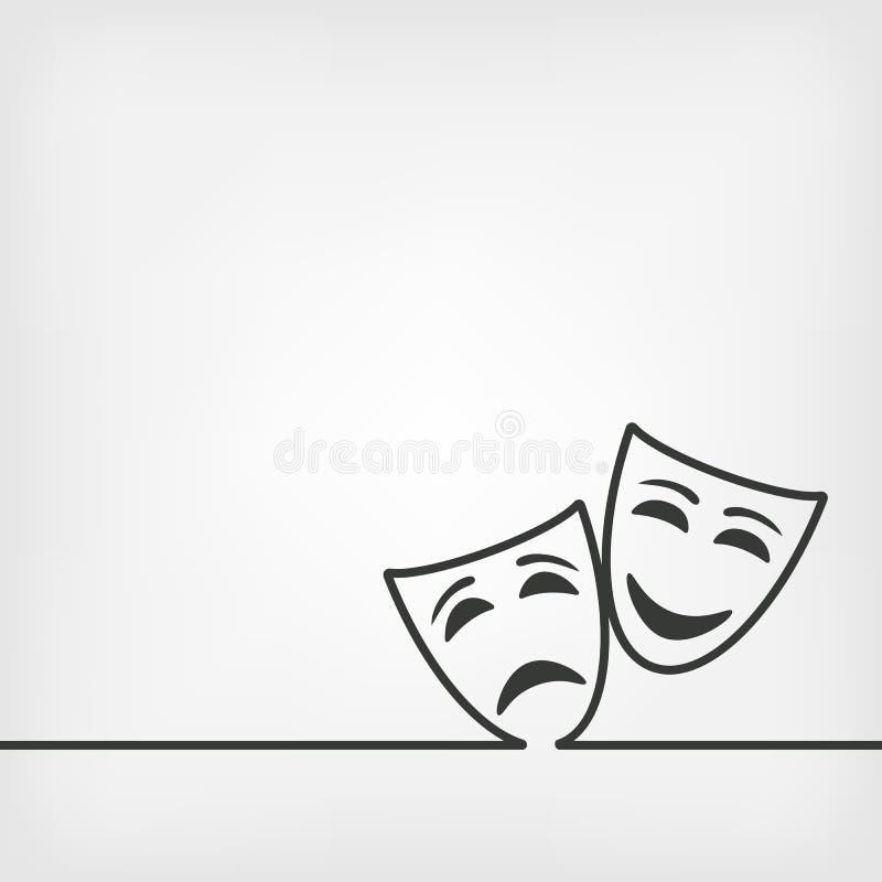 Komedie en tragediemaskers witte achtergrond stock illustratie