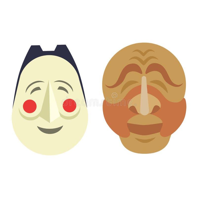 Komedii i tragadia wektorowi teatralnie Koreańscy ludzie maskują komediowego symbol Wektorowa teatru humoru wyst?pu twarz tragadi ilustracji
